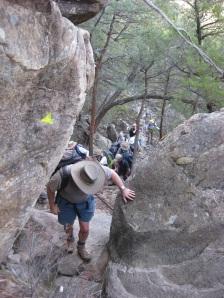 A Graders climbing Mt Difficult