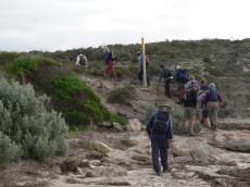B walkers leaving beach