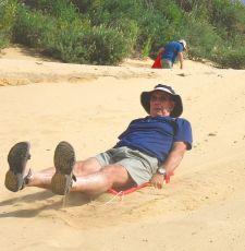Geoff practising his sand boarding.